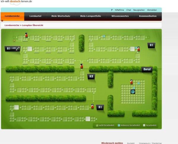Entlang eines visualisierten Lernplans können Lerner auf dem Portal frei aus dem Übungsangebot auswählen